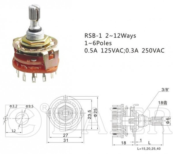 2,3,412 Position Rotary Switch China (mainland) Rotary Switches