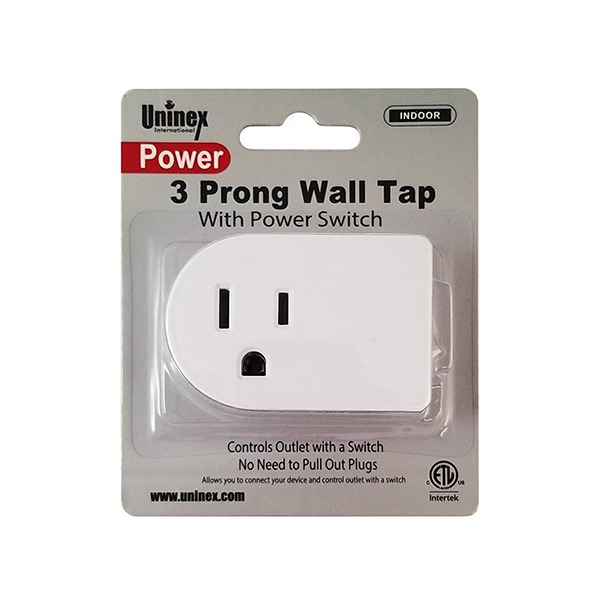 3 Prong Wall Tap With Power Switch Unit