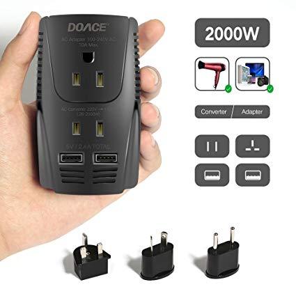 Amazon Com  2019 Upgraded Doace C11 2000w Travel Voltage Converter
