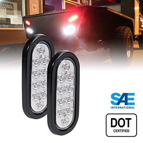 Amazon Com  2pc 6  Oval White Led Trailer Tail Lights [dot