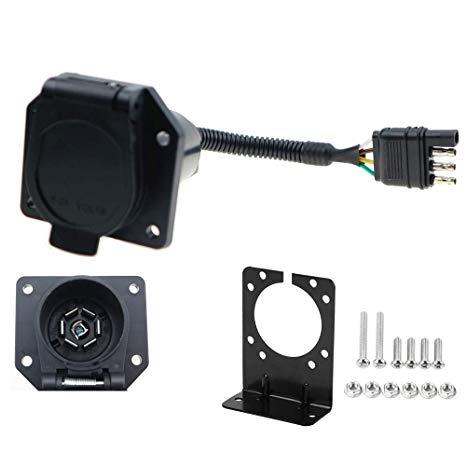 Amazon Com  4 To 7 Way Rv Trailer Light Plug Wire Harness