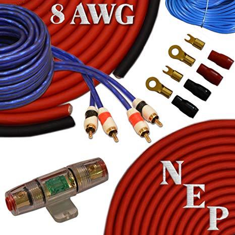 Amazon Com  8 Gauge Amp Kit, 20  Oversized 8 Awg Power & Ground