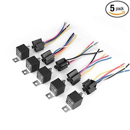 Amazon Com  Pulusi 5 Set Dc 12v 40a Amp Relay & Socket Spdt 5 Pin