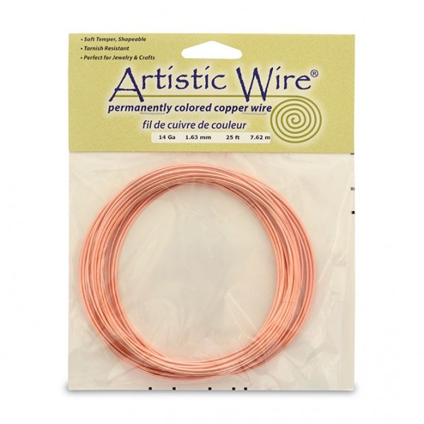 Artistic Wire, 14 Gauge (1 6 Mm), Bare Copper, 25 Ft (7 6 M)