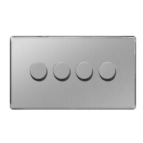 Bg Nexus Fbs84p Screwless Steel 4 Gang 2 Way Dimmer Switch