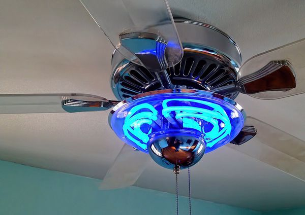 Ceiling Fan With Blue Neon Light And Clear Blades For Sale In