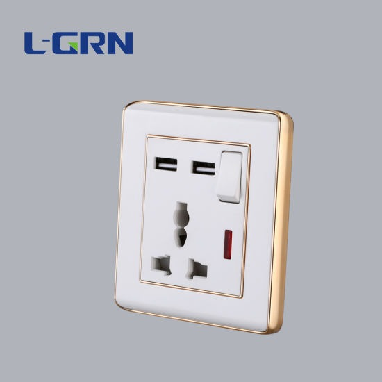 China Multifunction 3pins Usb Wall Socket With One Gang Switch