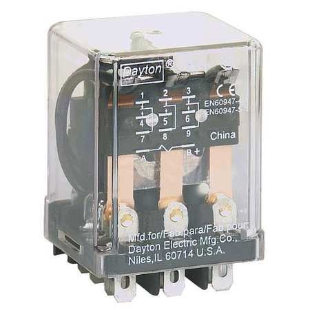 Dayton Plug In Relay, 11 Pins, Square, 120vac 5x841