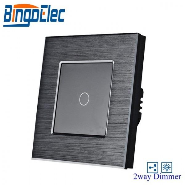 Eu Uk Golden Color Aluminum Metal Panel 1gang Two Way Dimmer