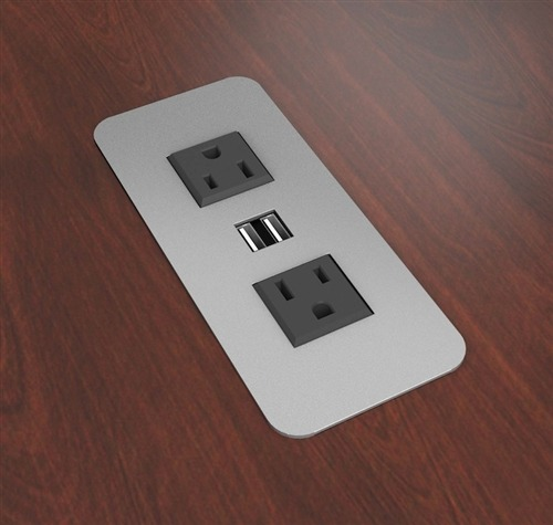 Flush Mounted Power Usb Outlets On Desk