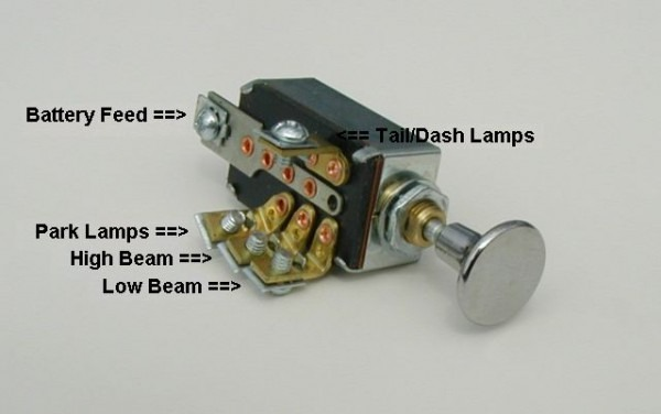 Headlight Dimmer Switch 4 Position With Chrome Knob Traditional