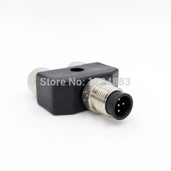 M12 Y Shaped Three Way Pipe Waterproof Sensor Connector Male