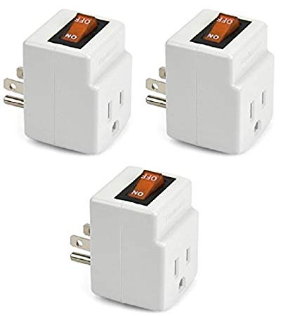 New! 3 Prong Grounded Single Port Power Adapter For Outlet With