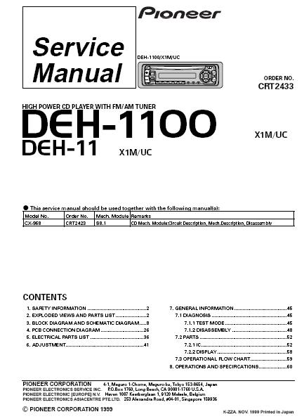 Pioneer Deh 11 Wiring Diagram