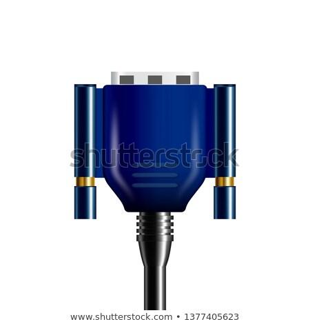Realistic Blue Vga Display Connector Plug Stock Vector (royalty