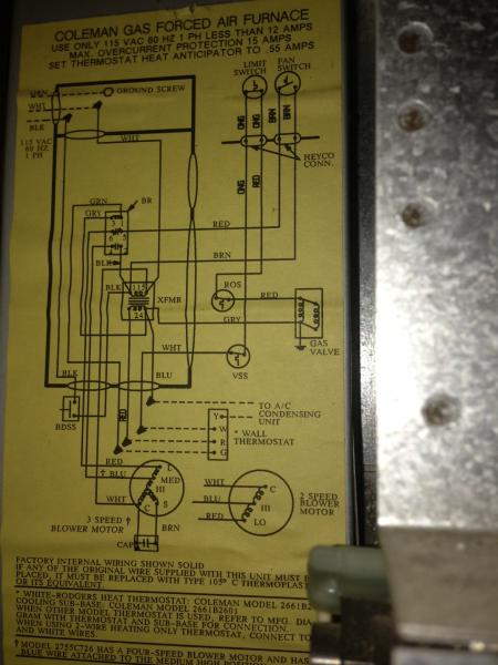 Coleman Furnace Thermostat Wiring