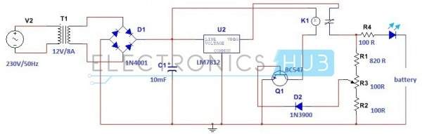 Simple Car Battery Charger Circuit Schematic Diagram