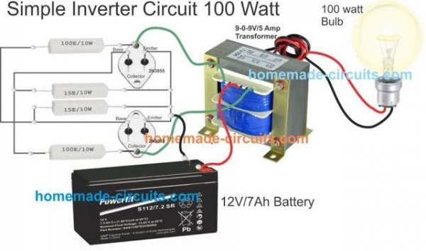 Simple Inverter Wiring With Transformer, 2n3055, Resistors And