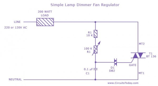 Simple Lamp Dimmer  Fan Regulator Circuit Using A Triac