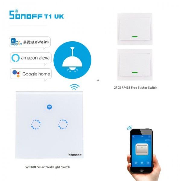 Sonoff T1 2gang 2way Wifi Wireless Rf App Touch Control Wall Light