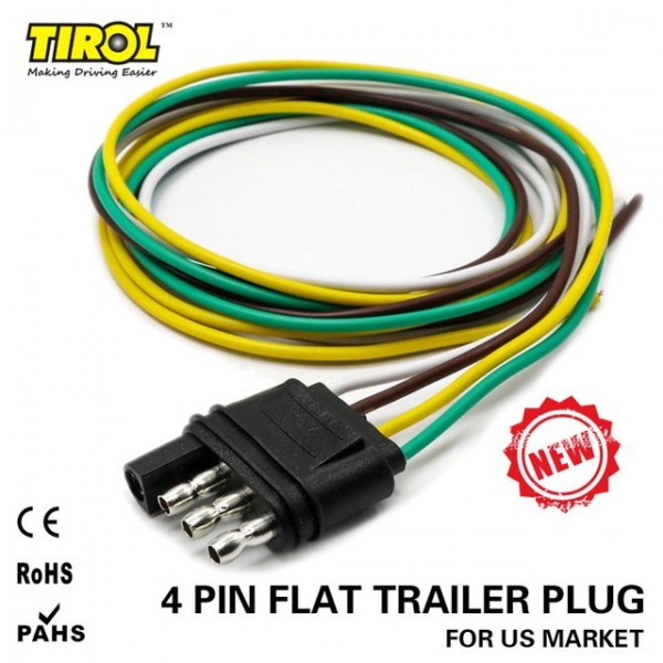Tirol 4 Way Flat Trailer Wire Harness Extension Connector Plug