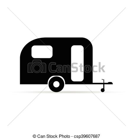Trailer Icon Camper In Black Color Illustration On White