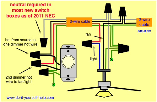 Wiring Diagram, Dimmer And Fan Light Kit
