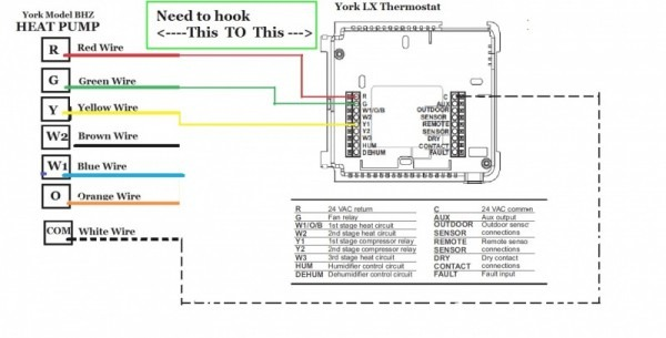 york heat pump thermostat wiring