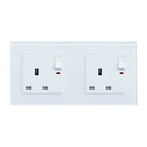 13a British Standard Double Switch Socket Outlet (white)