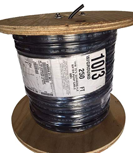 250 Feet 10 3 W Ground, Flat Hd Copper Submersible Pump Cable