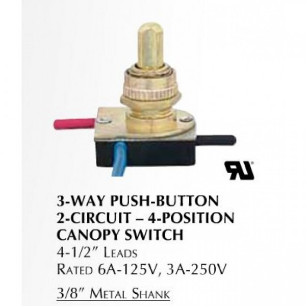 3 Way Push Button Brass Lamp Switch Lcd3746