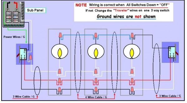 3 Way Switch Wiring Diagram With 3 Lights