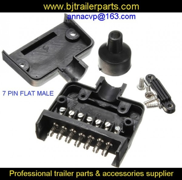 7 Pin Flat Male Trailer Connector Plug  Boat Caravan Motorhome Car