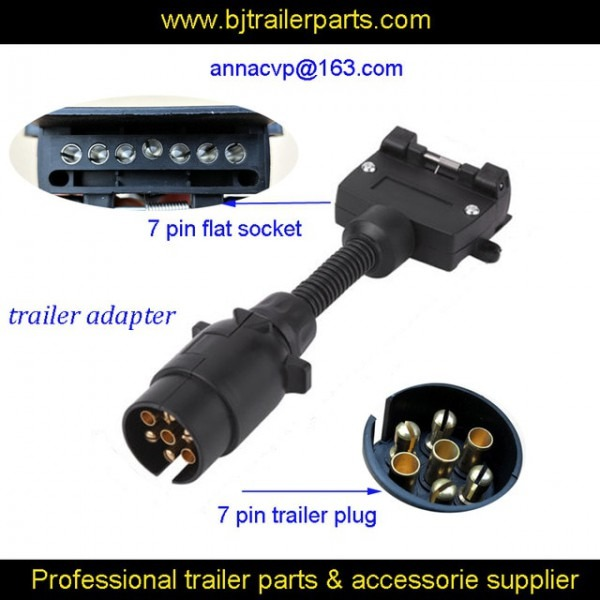 7 Pin Trailer Round Plug Male To 7 Pin Flat Female Socket, Trailer