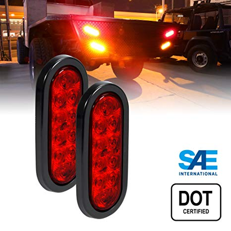 Amazon Com  2pc 6  Oval Red Led Trailer Tail Lights [dot Certified