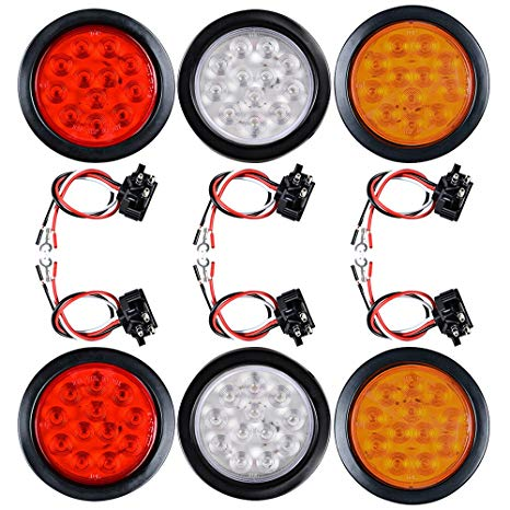 Amazon Com  4  Round Led Trailer Tail Light Kit Stop Turn Brake