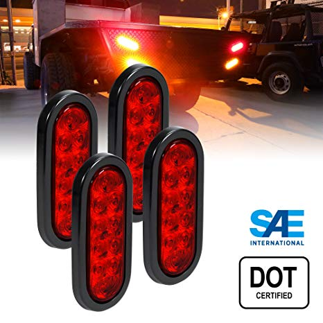 Amazon Com  4pc 6  Oval Red Led Trailer Tail Lights [dot Certified