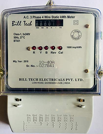 Billtech Sub Meter A C  3 Phase 4 Wire Counter Type Meter Rating