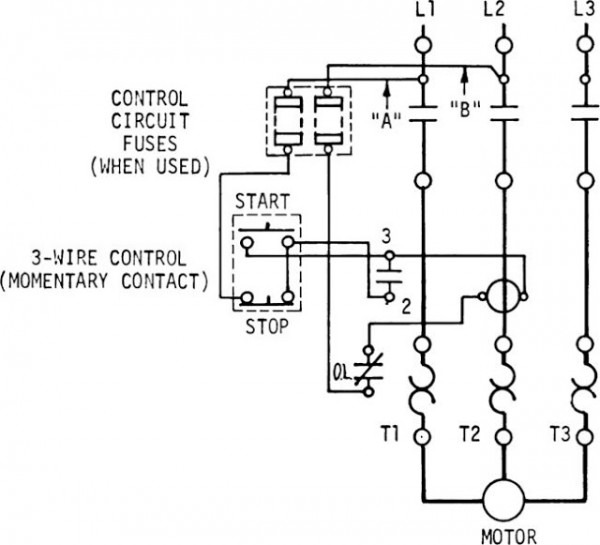 3 wire stop start wiring diagram