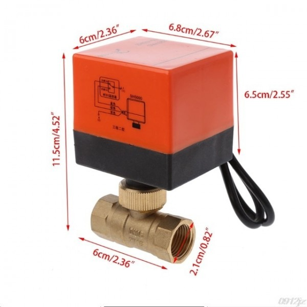Dn15 Dn20 Dn25 Electric Motorized Brass Ball Valve Dn20 Ac 220v 2