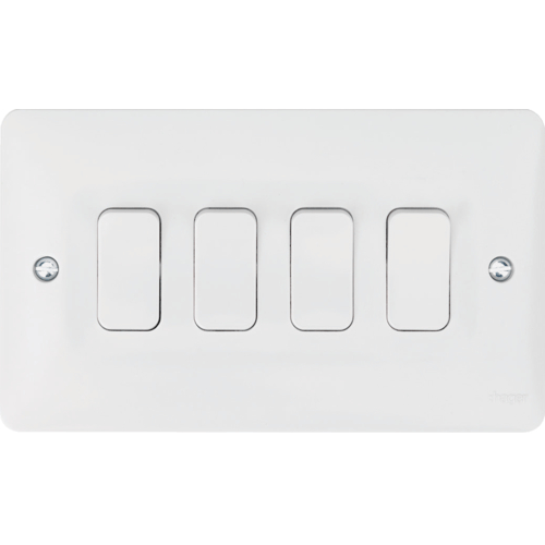 Hager 4 Gang 2 Way Switch, White Plastic Light Switches, Wmps42 Uk