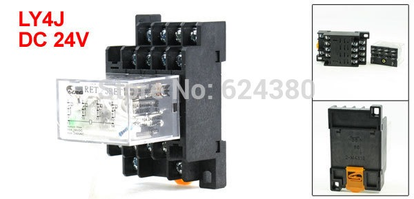 Ly4nj 4pdt 4p2t General Purpose Power Relay 24v Dc Coil 10a 240v