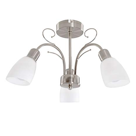 Modern 3 Way Silver Brushed Chrome Ceiling Light Fitting With