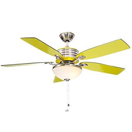 Santa Cruz 52 In  Indoor Brushed Nickel Ceiling Fan With Green