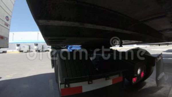 Semi Truck Connecting To Trailer Stock Footage