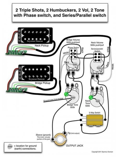 Seymour Duncan Wiring Diagram  2 Triple Shots, 2 Humbuckers, 2