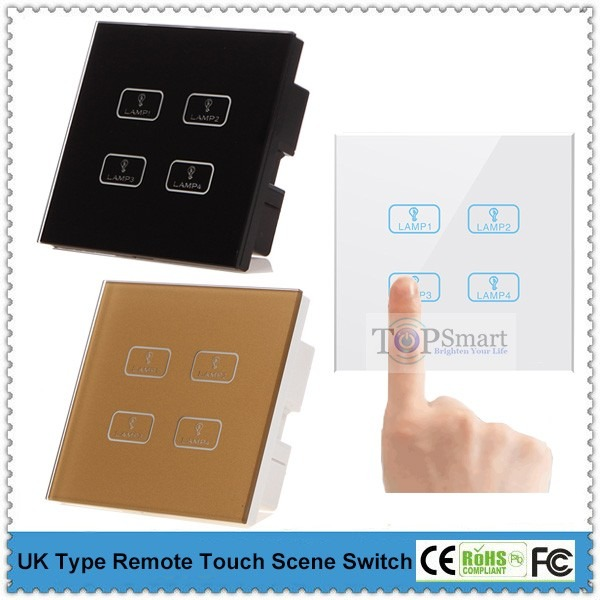 Uk Standard 4 Gang Remote Touch Scene Switch For Two
