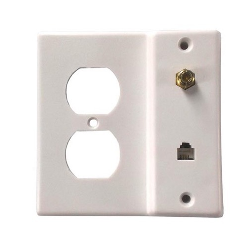Vanco 3122330 Wall Plate Phone Electrical Coax White Combo Wall