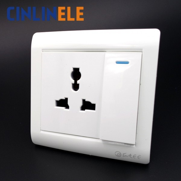 Wall Power Socket 1 Gang 2 Way Light Switch Multifunction 3 Hole