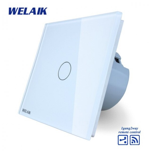 Welaik Brand Eu Crystal Glass Panel Wall Touch Switch European